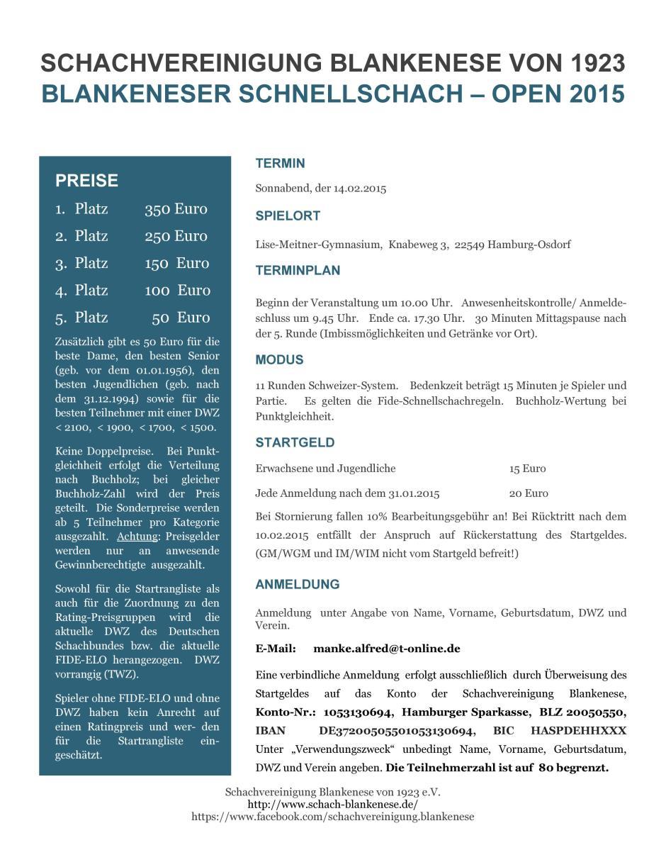 Blankeneser Schnellschach Open 2015