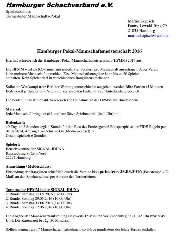 Hamburger Pokal-Mannschaftsmeisterschaft 2016