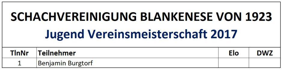 Teilnehmerliste Jugend Vereinsmeisterschaft 2017